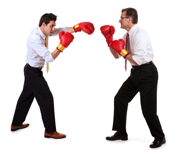 Tvist jurist Två affärsmän som boxas